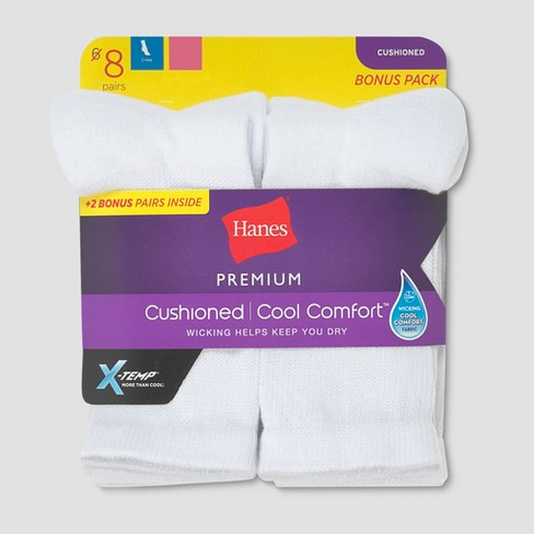 Hanes Premium Women's 6 + 2 Bonus Pack Cushioned Crew Casual Socks - White 5-9 - image 1 of 2