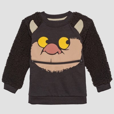 Toddler Boys' Where the Wild Things Are Monster Face Long Sleeve Pullover - Brown 2T