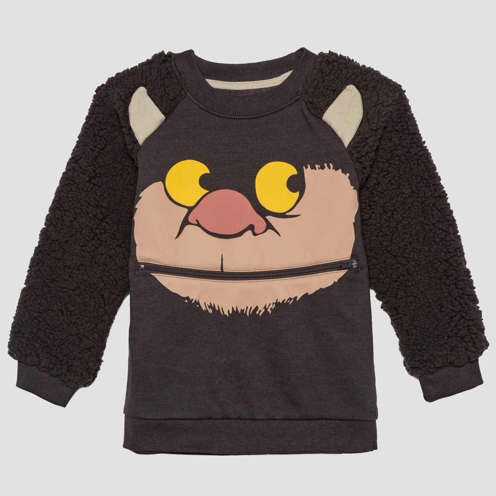 Toddler Boys' Where the Wild Things Are Monster Face Long Sleeve Pullover - Brown 18M, Gray