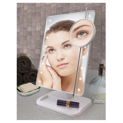Ginsey Sharper Image Led Sensor Mirror With 10x Magnification And
