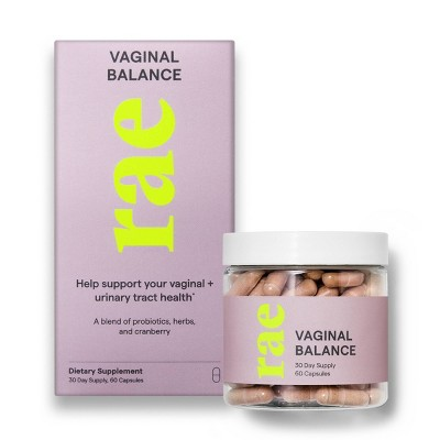 Rae Vaginal Balance Dietary Supplement Capsules with Cranberries and Probiotics - 60ct