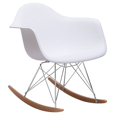 Futuristic Wood and Chrome Steel Accent Chair - White - ZM Home