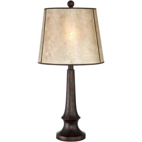 Franklin Iron Works Rustic Table Lamp Aged Bronze Mica Drum Shade for Living Room Family Bedroom Bedside Nightstand Office - image 1 of 4