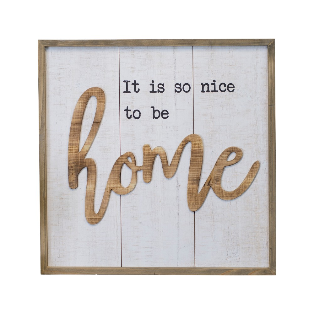 "Wood ""Home"" Wall Sign Panels White 20.1"" x 20.1"" - VIP Home & Garden"