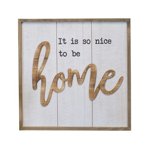 "Wood ""Home"" Wall Sign Panels White 20.1"" x 20.1"" - VIP Home & Garden - image 1 of 2"
