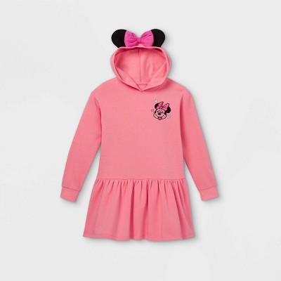 Girls' Disney Minnie Mouse Hooded Sweater Dress - Pink