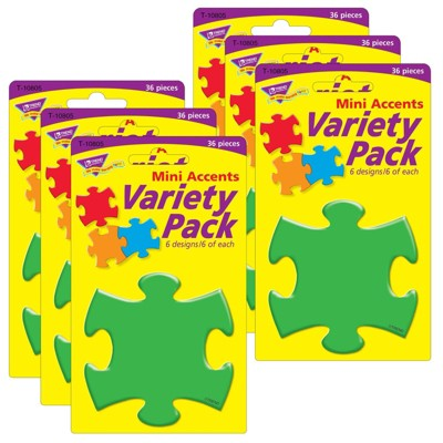 6pk Mini Accents Variety Pack Puzzle Shapes - TREND