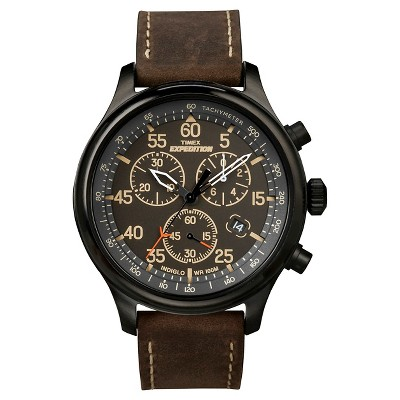Men's Timex Expedition Field Chronograph Watch with Leather Strap - Black/Brown T49905JT