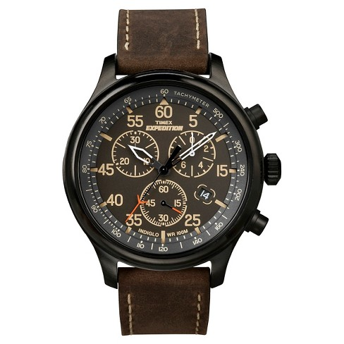 Men's Timex Expedition® Field Chronograph Watch with Leather Strap - Black/Brown T49905JT - image 1 of 1