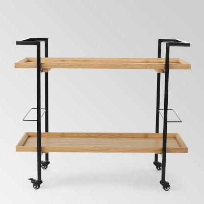 Gerard Industrial Wooden Bar Cart - Natural- Christopher Knight Home