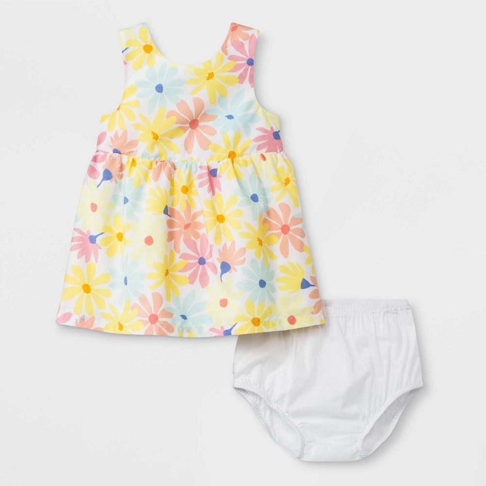 Baby Girls' Floral Poplin Dress - Cat & Jack Yellow 3-6M