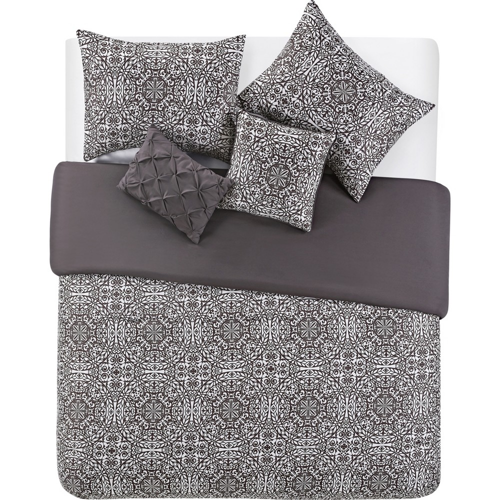 5pc Full/Queen Tapile Printed Comforter Set Taupe - Vcny Home, Gray