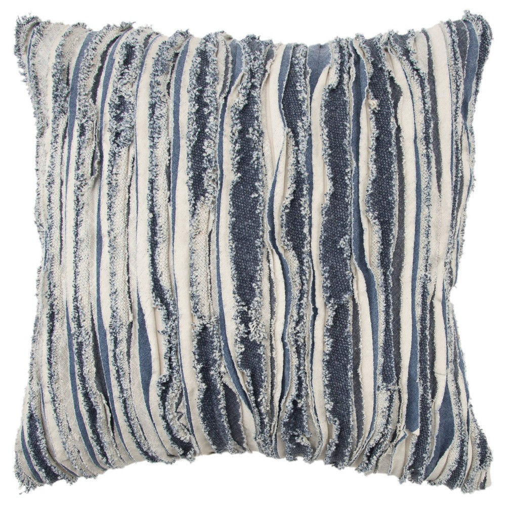 "Image of ""20""""x20"""" Stripe Polyester Filled Pillow Indigo - Rizzy Home"""