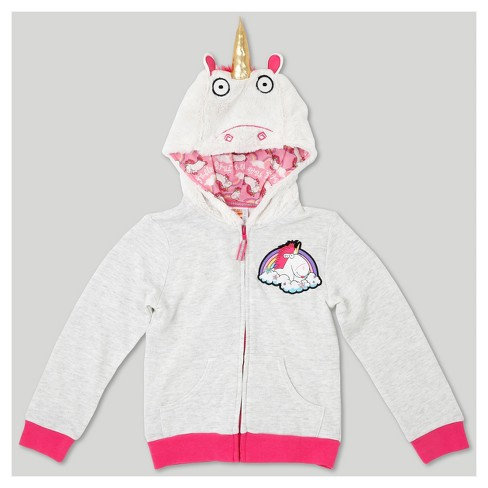 Girls Despicable Me Fluffy The Unicorn Costume Hoodie Ivory Xs