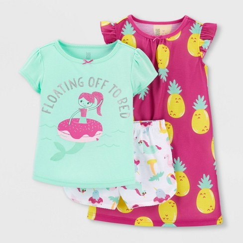 Toddler Girls' 3pc Pineapple Mermaid Pajama Set - Just One You® made by carter's Green/Pink - image 1 of 3