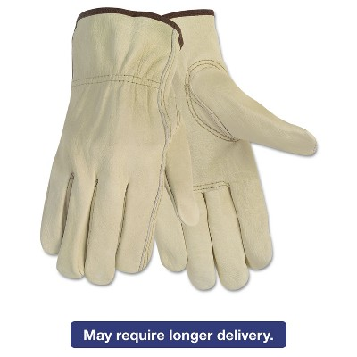 Memphis Economy Leather Driver Gloves Medium Beige Pair 3215M