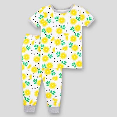 Lamaze Toddler Girls' 2pc Lemon Organic Cotton Short Sleeve Snug Fit Pajama Set - Yellow