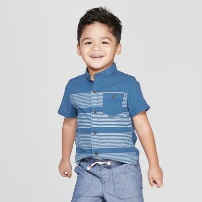 4f0f05993e3 Toddler Boys  Mandarin Collar Short Sleeve Button-Down Shirt - Cat   Jack™