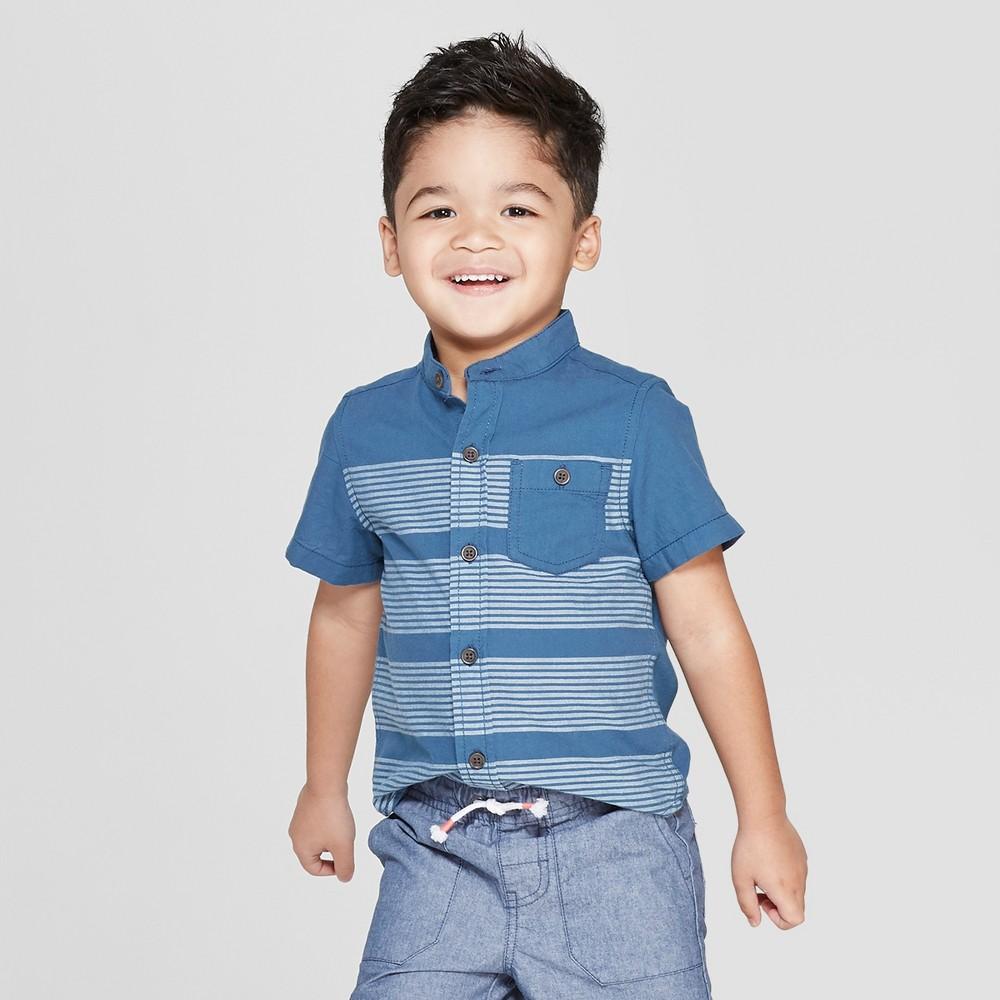 Toddler Boys' Mandarin Collar Short Sleeve Button-Down Shirt - Cat & Jack Blue 2T