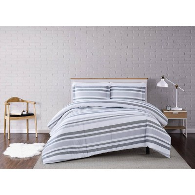 Curtis Stripe Duvet Cover Set White/Gray - Truly Soft