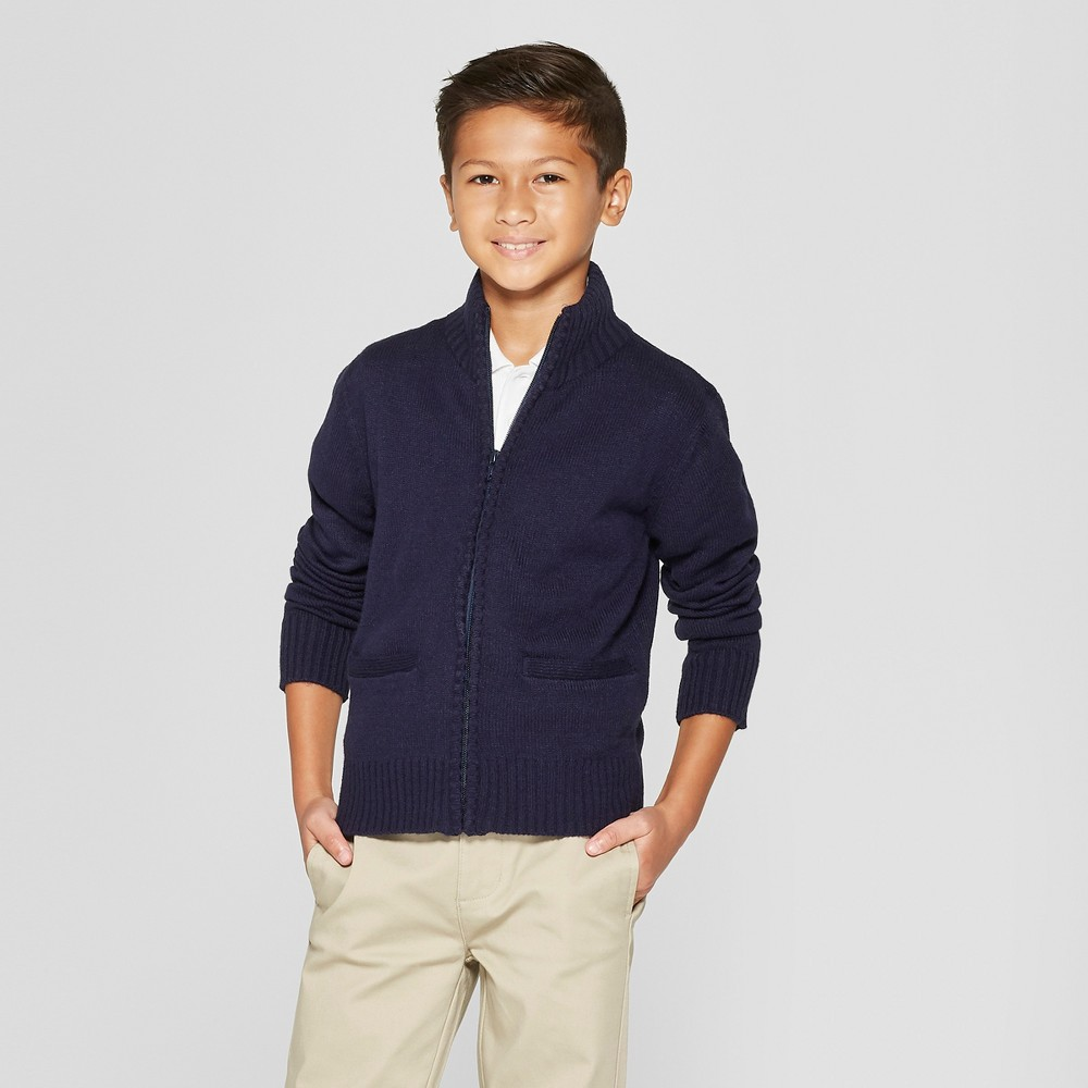 French Toast Boys' Zip Neck Uniform Pullover Sweater - Navy M, Blue