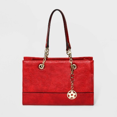 Bueno Zip Closure Tote Handbag - Red