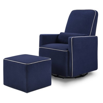 Davinci Olive Glider And Ottoman - Navy With Gray Piping