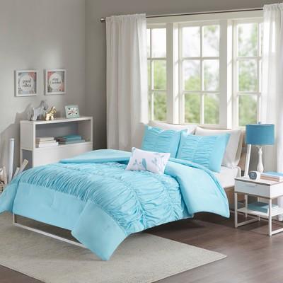 Full/Queen Blue Haley Comforter Set 4pc