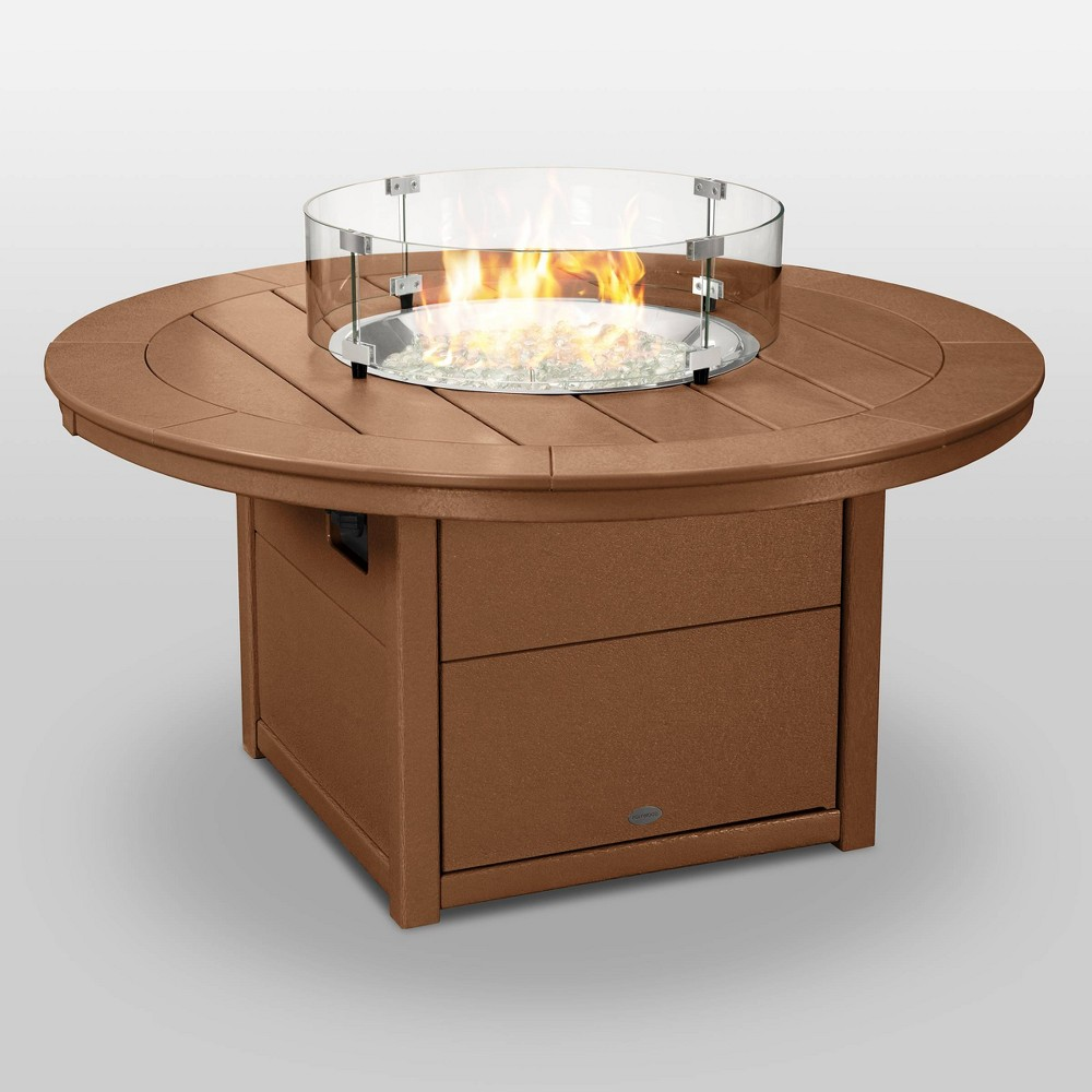 "Image of ""POLYWOOD Round 48"""" Outdoor Fire Pit Table - Teak, Brown"""
