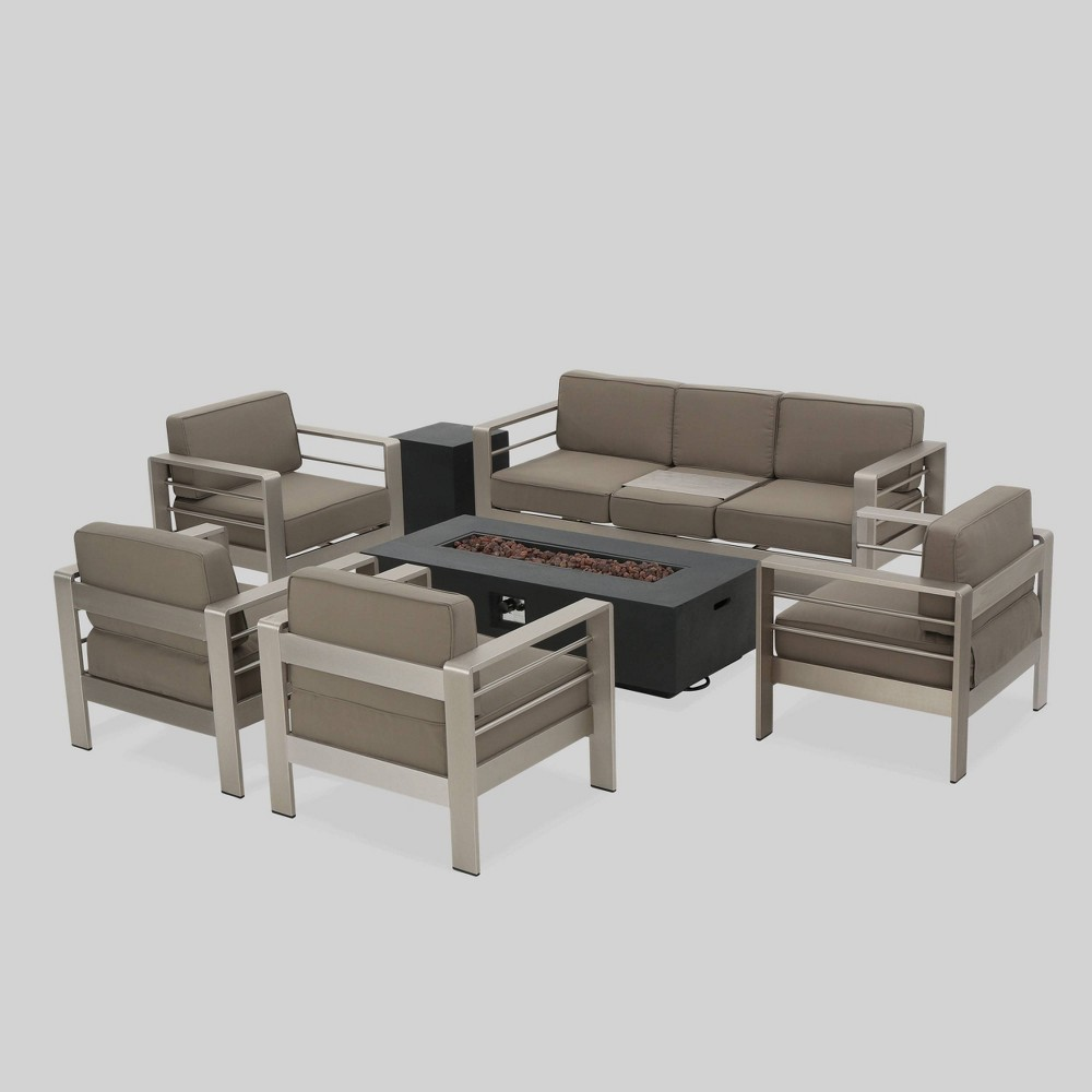 Cape Coral 7pc Aluminum and Mgo Firepit Set Dark Gray/Khaki (Dark Gray/Green) - Christopher Knight Home
