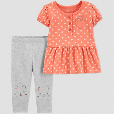 Baby Girls' 2pc Polka Dots Pant Set - Just One You® made by carter's Coral/Gray 9M