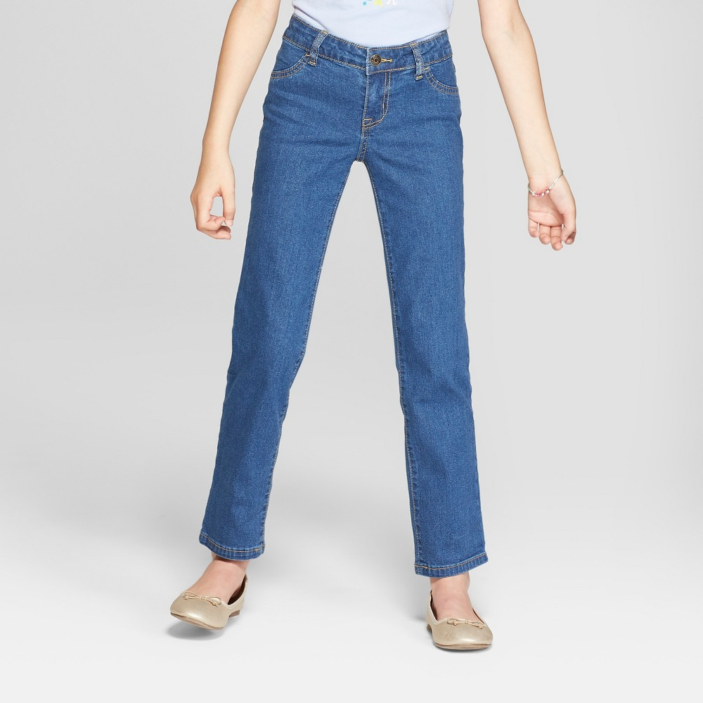Girls' Straight Jeans - Cat & Jack Medium Wash 14, Size: 14 Slim, Blue
