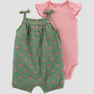 Baby Girls' Geo Top & Bottom Set - Just One You® made by carter's Olive Newborn