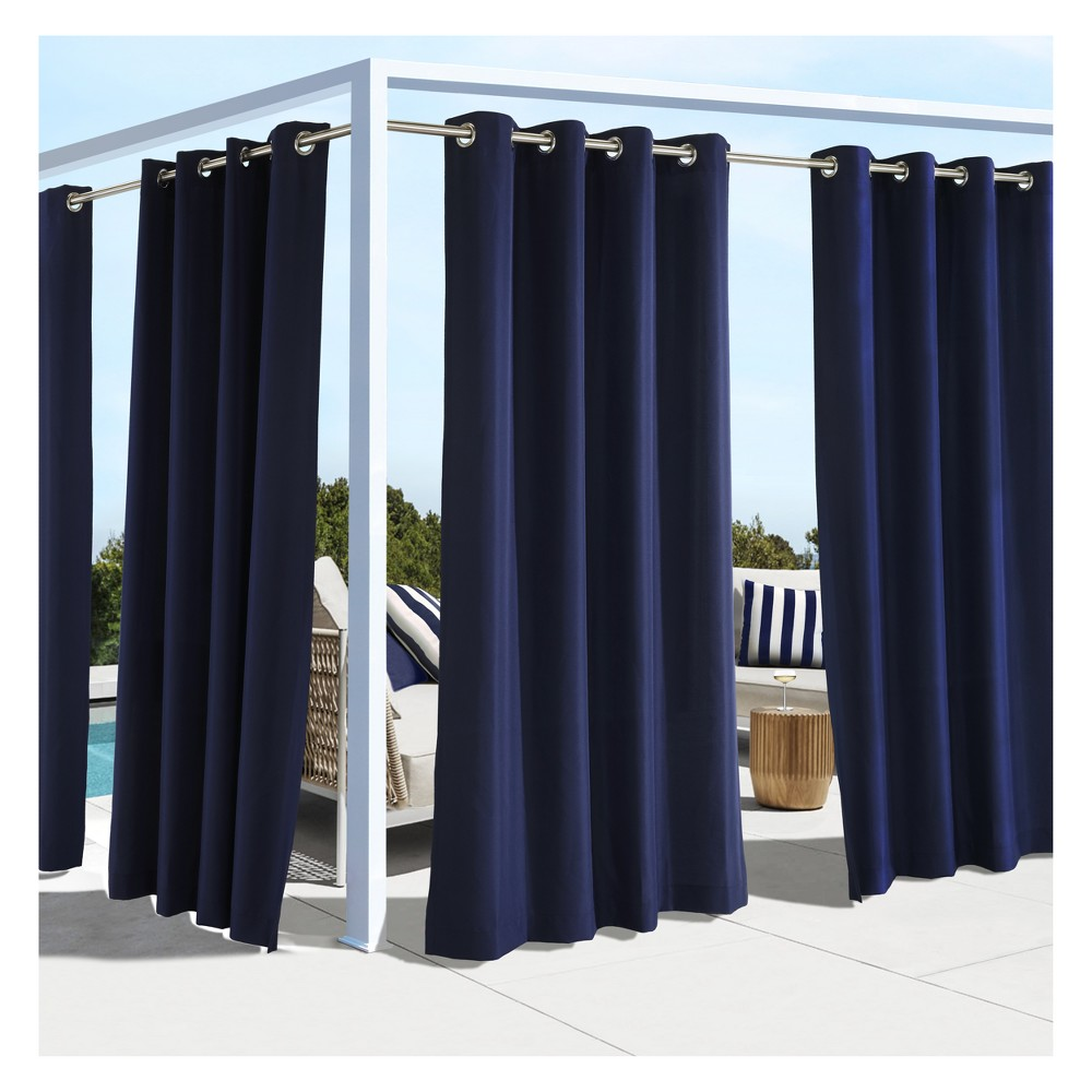 "Image of ""50""""x96"""" Coastal Grommet Top Blackout Curtain Panel Navy - Outdoor Décor, Size: 50x96, Blue"""