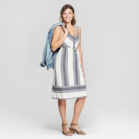 71714e5a8c5 Women s Sleeveless V-Neck Striped Button Front Midi Dress - Universal  Thread™ Blue