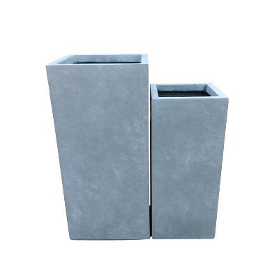 Set of 2 Tall Square Lightweight Concrete Planters Slate Gray - Rosemead Home & Garden, Inc.