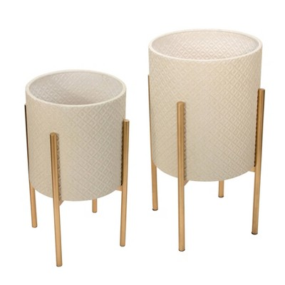Set of 2 Diamond Planter on Metal Stand White/Gold - Sagebrook Home