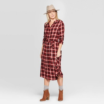 Women's Plaid Long Sleeve Midi Shirtdress With Tie Belt   Universal Thread™ Red by Universal Thread