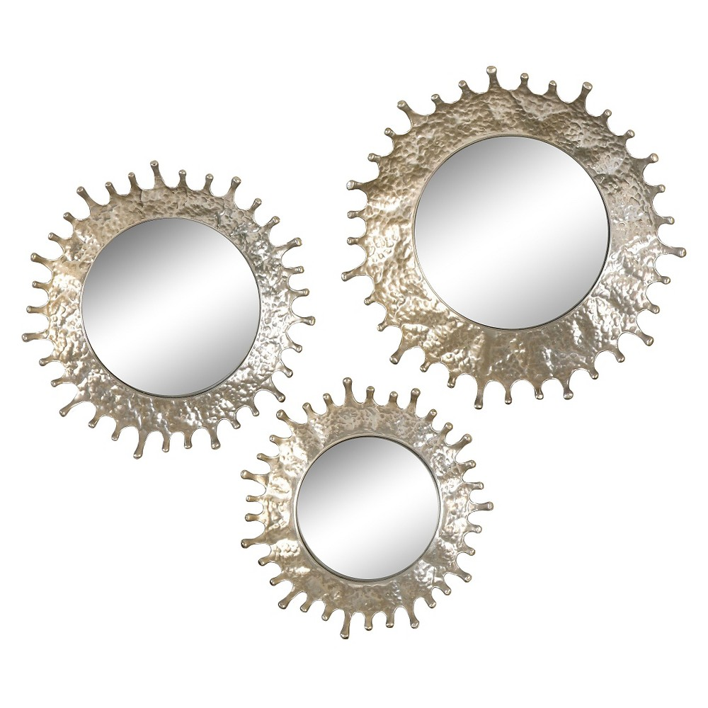 Image of Round Rain Splash Mirror Set of 3 Silver - Uttermost