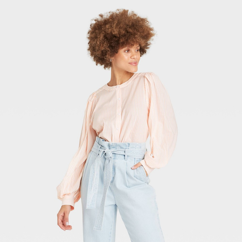 Women 39 S Striped Long Sleeve Button Down Femme Top A New Day 8482 Pastel Peach L