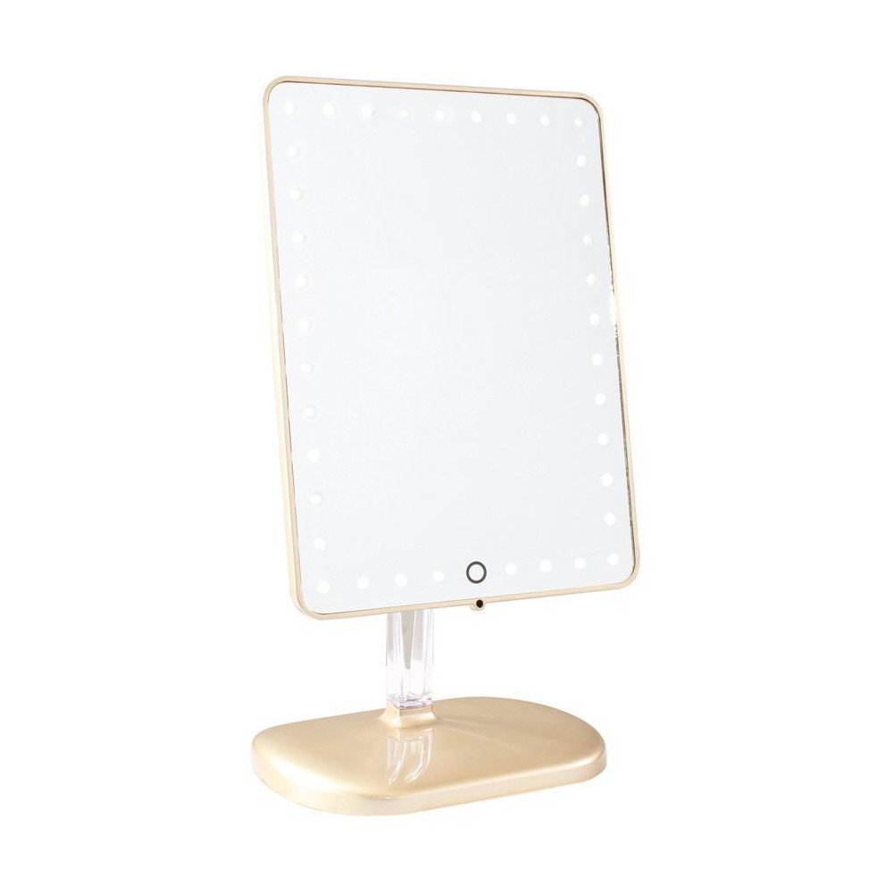 Image of Impressions Vanity Touch Pro LED Makeup Mirror with Bluetooth Audio+Speakerphone & USB Charger - Champagne Gold, Beige