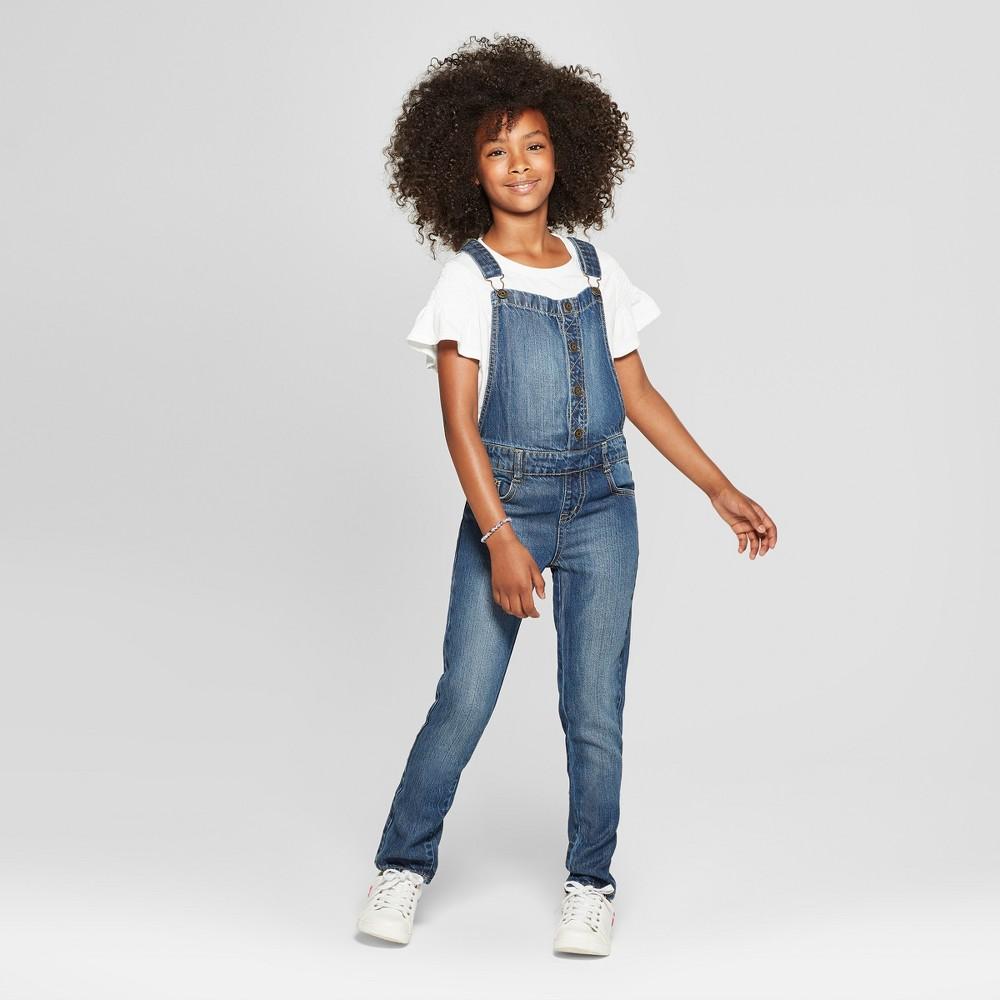Plus Size Girls' Button Front - Cat & Jack Medium Wash XL Plus, Blue