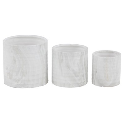 Set of 3 Contemporary Porcelain Planters White - Olivia & May