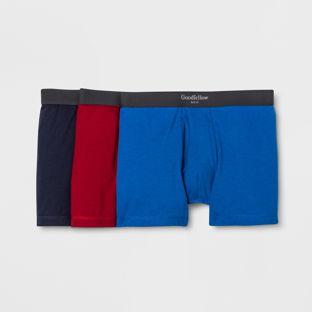 Men's Premium Knit 3pk Boxer Briefs - Goodfellow & Co Red/Navy/Blue 2XL, Red/Blue/Blue was $18.99 now $9.99 (47.0% off)