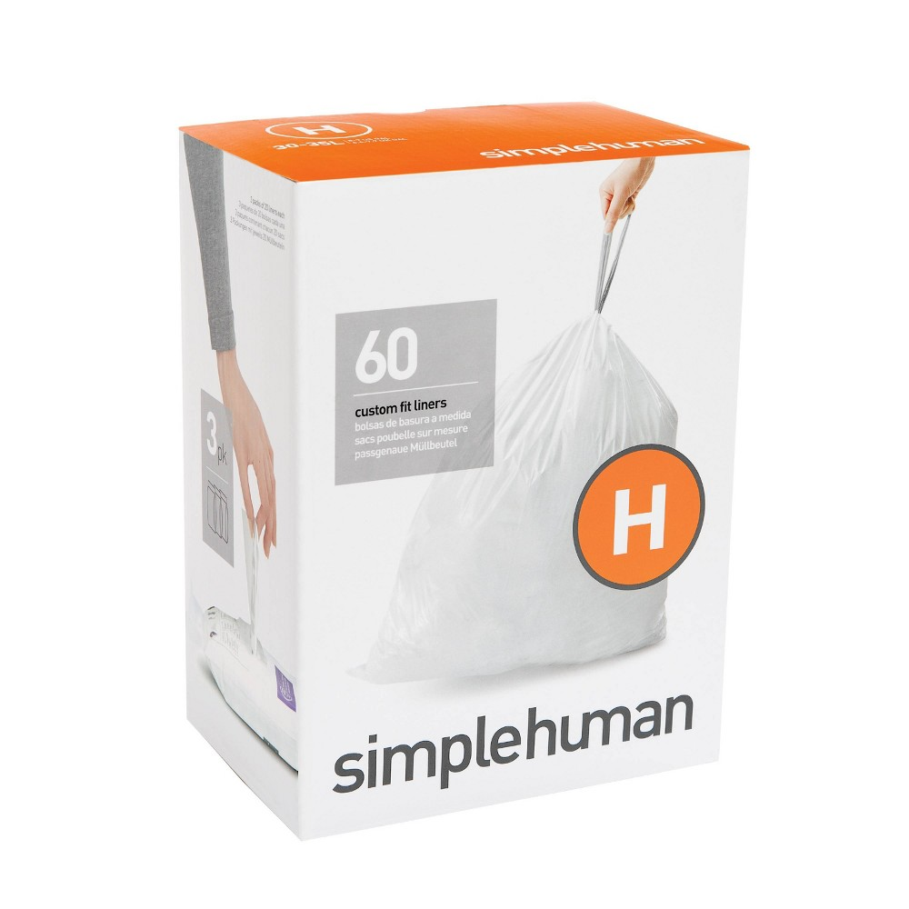 Image of simplehuman 30-35 ltr Code H Custom Fit 60ct Trash Can Liner