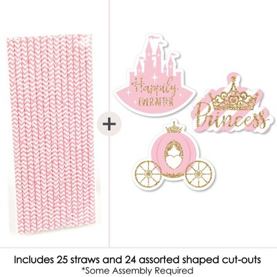 25 PRINCESS AND CROWN PAPER STRAWS PARTY TABLE DECORATIONS PINK FAIRYTALE