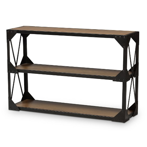 Hudson Rustic Style Antique Textured Finished Metal And Distressed Wood Occasional Console Table Brown Black Baxton Studio