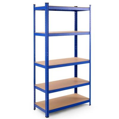 Costway 72'' Heavy Duty Steel 5 Level Garage Shelf Storage Adjustable Shelves Silver\Blue