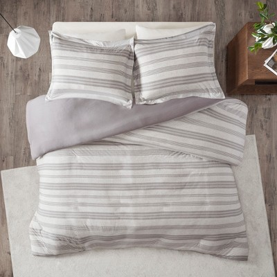 3pc Mason Stripe Print Ultra Soft Cotton Blend Jersey Knit Duvet Cover Set