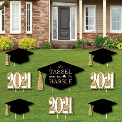 Big Dot of Happiness Gold - Tassel Worth The Hassle - Yard Sign and Outdoor Lawn Decorations - 2021 Graduation Party Yard Signs - Set of 8